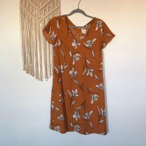 Target A New Day burnt orange floral v-neck dress